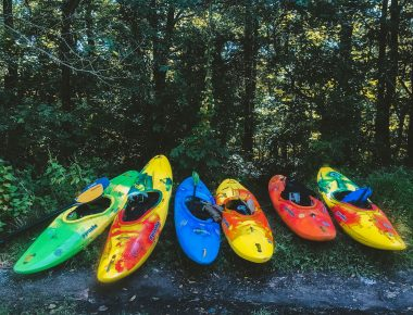 Kayaks on the shore of Lake Cumberland in Somerset, Kentucky